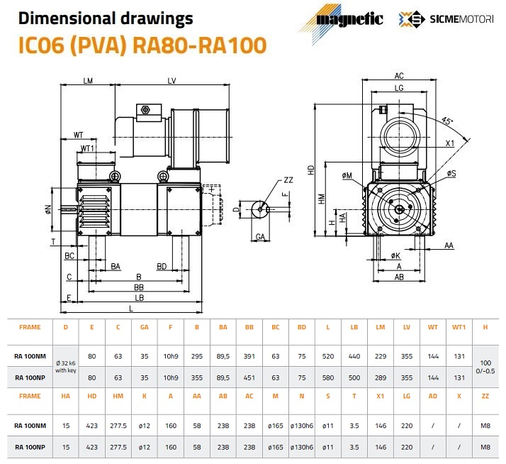 Sicme Motori RA Series DC Motor Frame 100 Dimensions