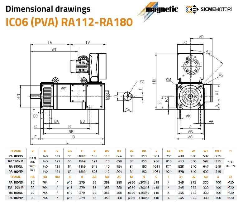 Sicme Motori RA Series DC Motor 180 Frame Dimensions