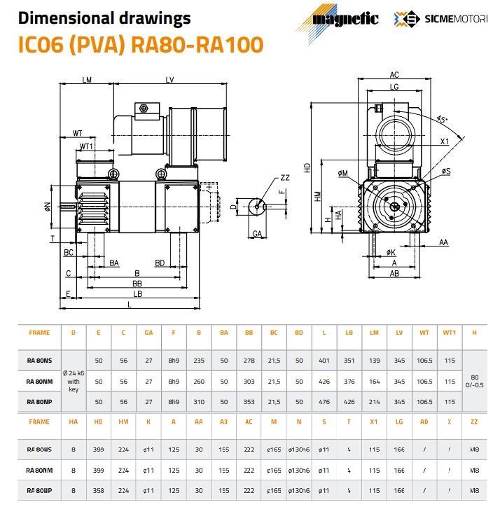 Sicme Motori RA Series DC Motor Frame 80 Dimensions