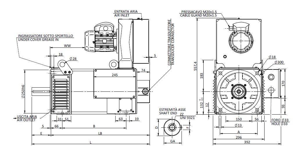MQ 132 IP 23 Dimensions